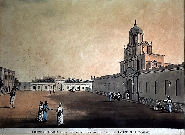aquatint of the Fort Square inside Fort St. George by Thomas Daniell,