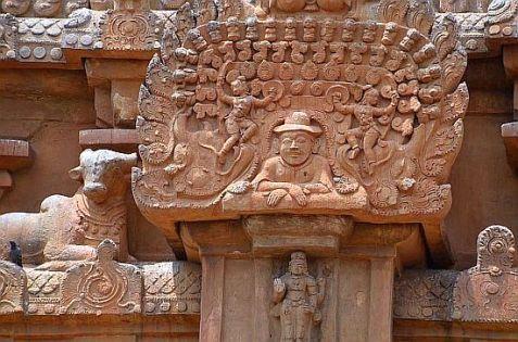 Brihadesvara Tanjore man with a hat