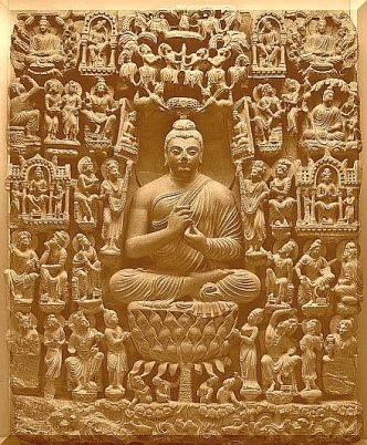 buddha sourrounded by devas
