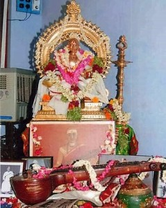 Dikshitar's idol with the veena he used in the forefront.