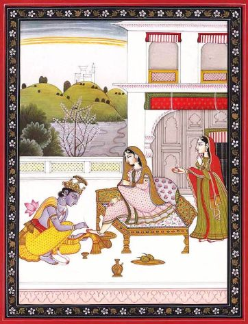Krishna Tends to Radha's Feet
