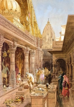 Benares temple worshippers