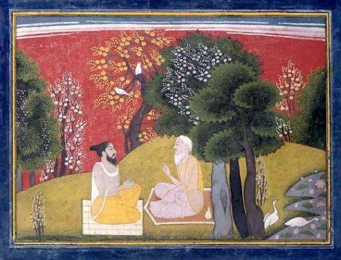 Jaimuni questions Markandeya, Garwhal c 1785, 17.8x24.7cm