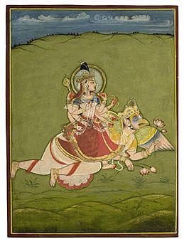 lakshmi_on_garuda_mewar_circa_1820_a_goddess_on_a_tiger_marwar_circa_1_d5360652h