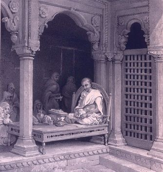 Preacher Expounding The Poorans. In The Temple of AnnaPoorna, Benares. Lithograph by Prinsep (1835)