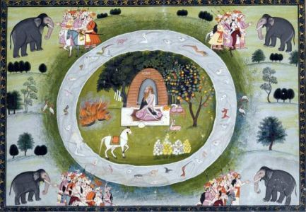 Sage Kapila in his hermitage, Illustration from Ramayana, Kangra or Garhwal