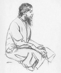 Tagore, a sketch by Rothenstein flip