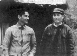 Mao Zedong meets with Snow again in Yan'an in 1939.