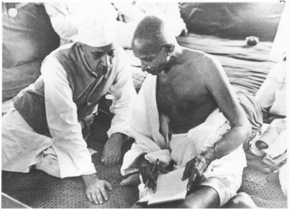 Nehru Gandhi going over the list