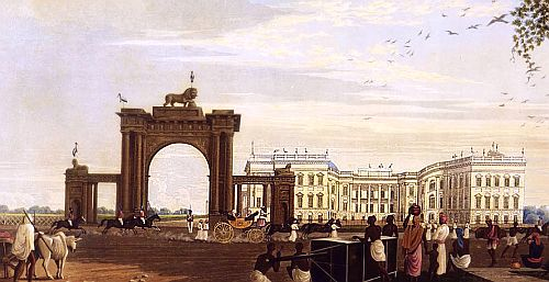 Calcutta Government House from the Eastward 1819. Engraved by R Havell Jr