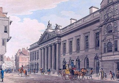 East India House London painted by Thomas Malton in c.1800