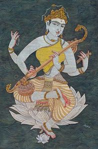 Saraswati on Dark Green Ground