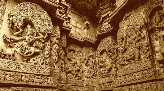 Belur temple sepia