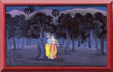 'The Lovers Radha and Krishna in a Palm Grove'; miniature painting from the 'Tehri Garhwal' <i>Gita Govinda</i> (Song of the Cowherds), Punjab Hills, kingdom of Kangra or Guler, circa 1775–1780