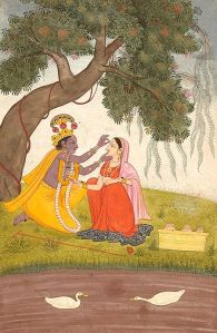 Krishna Adorns Radha with a Tilak