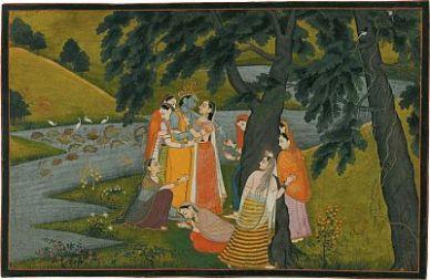'Krishna and the Gopis on the Bank of the Yamuna River'; miniature painting from the 'Tehri Garwhal' <i>Gita Govinda</i>, circa 1775–1780