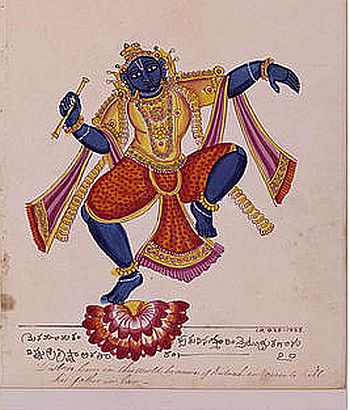 Krishna Holding a Flute and Dancing on a Lotus